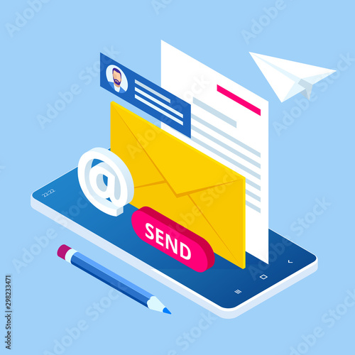 Foto Isometric Email Inbox Electronic Communication