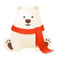 Cute Polar Bear With Scarf, Winter Christmas Vector Illustration