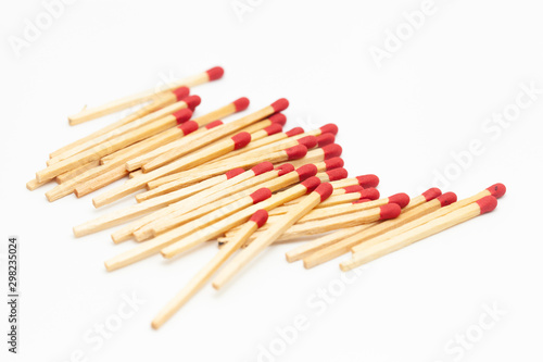 Photo matchstick fire danger white isolated