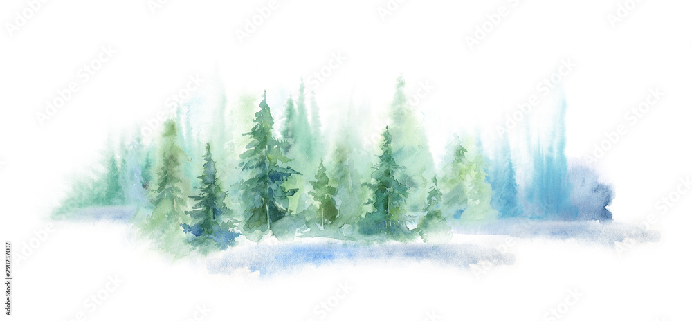 Fototapety, obrazy: Green landscape of foggy forest, winter hill. Wild nature, frozen, misty, taiga. watercolor background