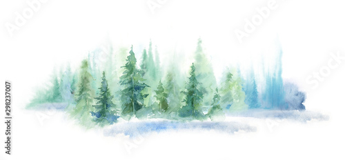 Foto auf Gartenposter Weiß Green landscape of foggy forest, winter hill. Wild nature, frozen, misty, taiga. watercolor background