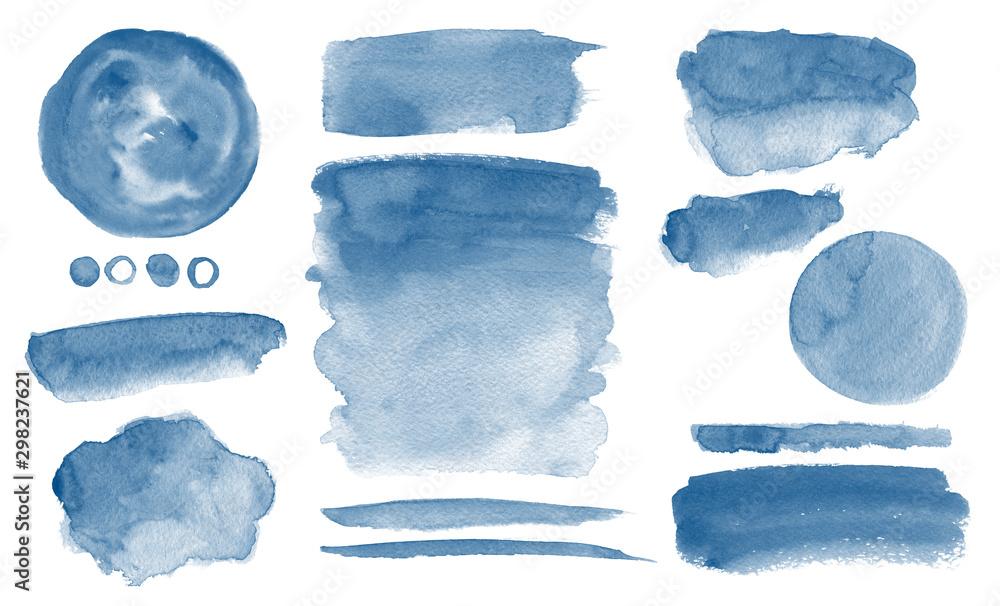 Fototapeta Navy blue watercolor stains Invitation design Set of brush strokes