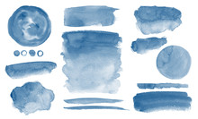 Navy Blue Watercolor Stains In...