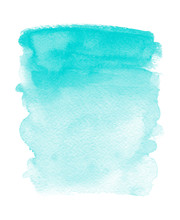 Turquoise Watercolor Stain Blu...