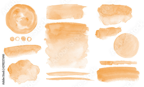 Fotografía  Orange watercolor stains Washes Set of brush strokes Invitation design