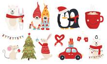 Set Of Christmas Characters Hugs