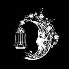 Crescent Moon With Smiling Human Profile Face And Bird Cage, Rose Flowers And Little Birdies - Good Night And Sweet Dreams Black And White Vector Concept Design