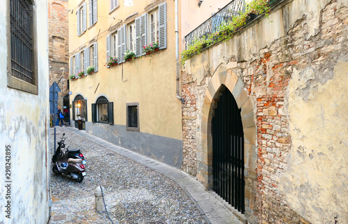 Canvas Print Street in Bergamo old town Citta Alta