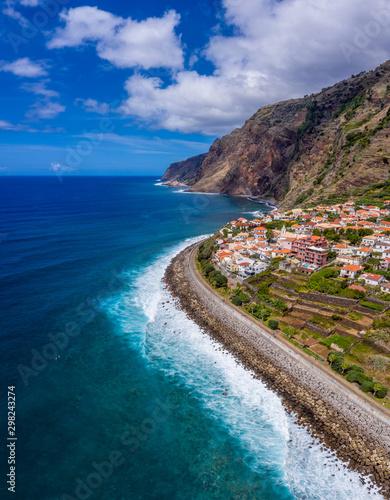 Nice panorama aerial photo of Jardim do Mar coast, in Madeira Island Canvas Print