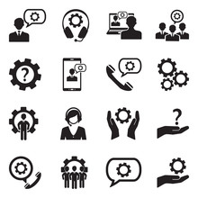 Technical Support Icons. Black...