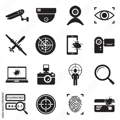 Fototapety, obrazy: Surveillance Icons. Black Flat Design. Vector Illustration.