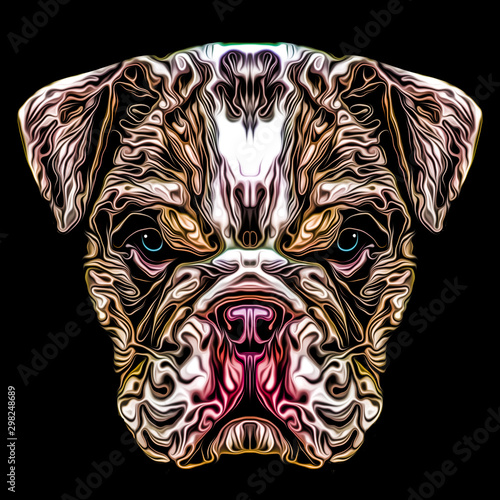 evil dog face tatoo art