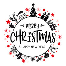 Merry Christmas Lettering With Red And Black Ornaments And Wreath Decoration