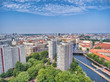 Berlin aerial view from drone, Germany. Buildings and city river