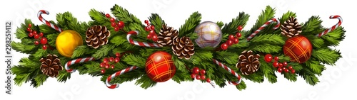 christmas wreath, Decorative Christmas ornament, art illustration painted with watercolors isolated on white background - 298251412