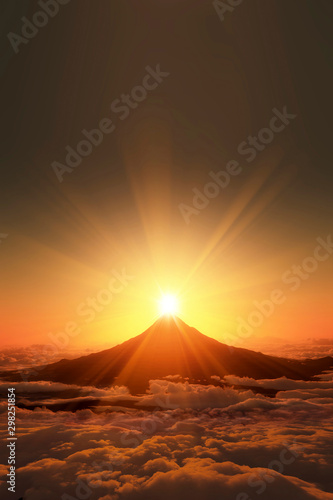Obraz 富士山の日の出 - fototapety do salonu