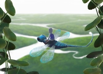 Dječak jaše divovskog vretenca u fantastičnom krajoliku, fantasy slikanje, koncept mašte