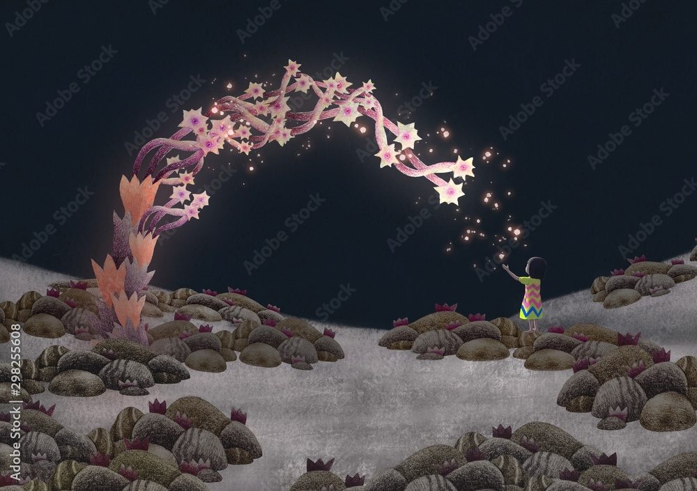 Imagination fantasy scene little girl with beautiful magic tree in the night, surreal painting illustration, freedom, hope