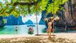 Asian woman traveler in bikini joy vacation fun beach, Beautiful scenic landscape Lading island Krabi, Famous place tourist travel Phuket Thailand, Girl on summer holiday trip, Destination place Asia