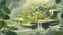 Fantasy Floating Village With Nature And Animal ,surreal Painting, Imagination Art