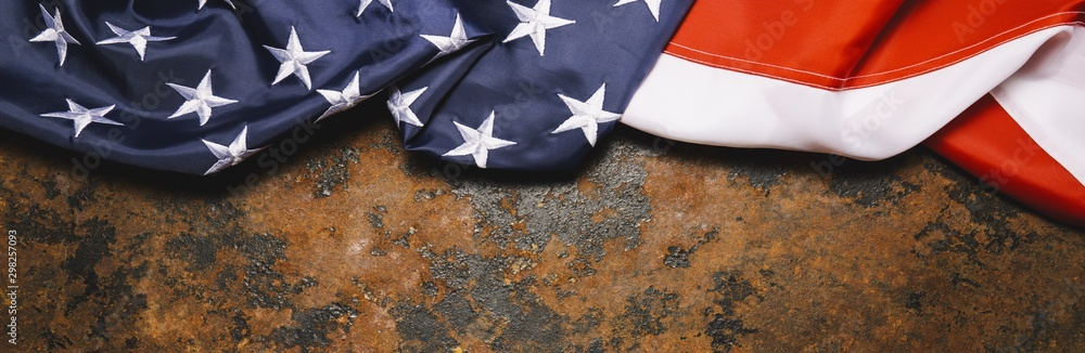 United States Flag On Dark Rusty  Background, banner size. copyspace for your individual text.