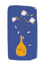 Floral Card Vector Illustration. Flower In Orange Vase On A Blue Background  Vintage And Trendy Design For Greeting Cards, Posters.