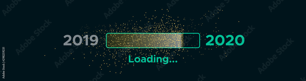 Fototapety, obrazy: Progress bar with golden particles on black Download New Year's Eve. Loading animation screen with Glitter confetti shows almost reaching 2020. Creative festive banner with shiny progress bar.