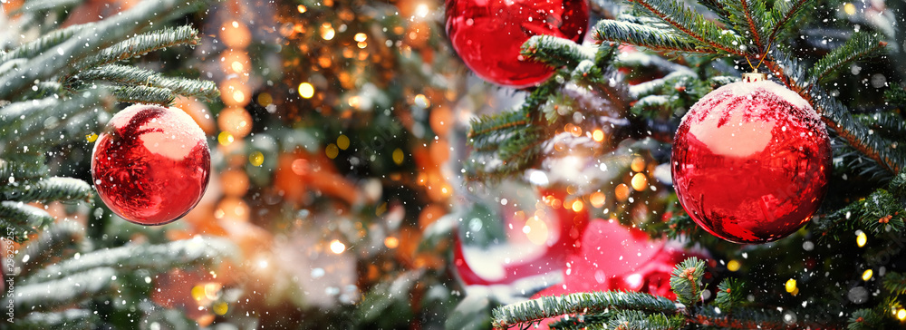 Fototapeta christmas and new year concept .Red balls on fir branches, winter snowy backdrop. festive winter holiday background. template for design. banner, copy space