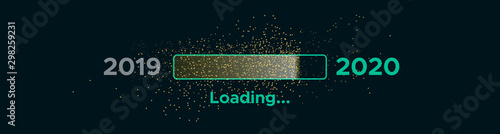 Progress bar with golden particles on black Download New Year's Eve Canvas-taulu