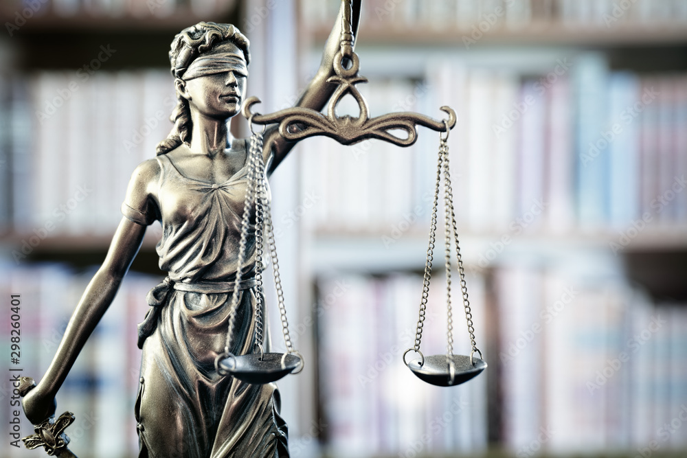 Fototapety, obrazy: Legal and law statue of Lady Justice scales of justice and books