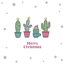 Very Cute Tiny Christmas Greeting Card With Cactuses Decorated As Christmas Trees. Merry Christmas Vector Illustration