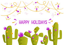 Christmas Cactuses With Text. Happy Green Cactuses With Christmas Decoration On Vector Background Greeting Illustration