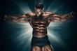 Leinwanddruck Bild - Handsome Muscular Bodybuilder Flexing Muscles