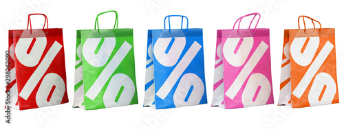 Fotomural  3D sale paper bags in different colors