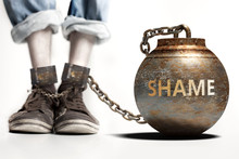 Shame Can Be A Big Weight And A Burden With Negative Influence - Shame Role And Impact Symbolized By A Heavy Prisoner's Weight Attached To A Person, 3d Illustration