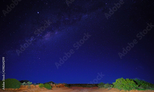 View of stars in the Milky Way on a dark sky over Shark Bay, Western Australia