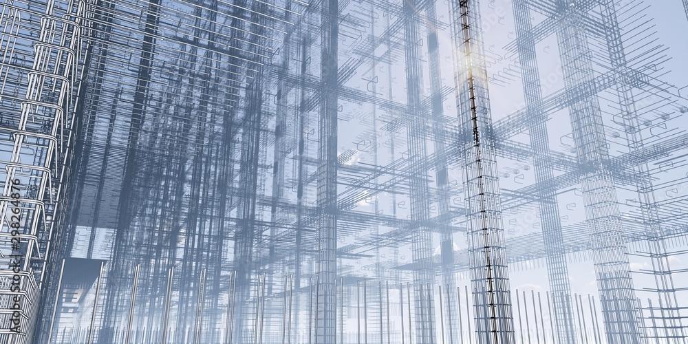Fototapety, obrazy: BIM model of reinforcement frame of the building