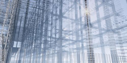 3D BIM model of reinforcement framework of the building Canvas Print