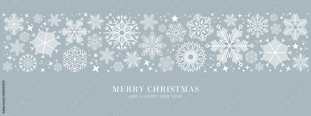 Fototapeta blue christmas card with white snowflakes vector illustration EPS10