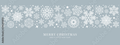 blue christmas card with white snowflakes vector illustration EPS10 - 298265879
