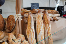 French Baguette Bread For Sale In A Bakery Shop In Paris