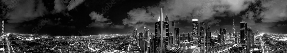 Fototapeta Aerial view of Dubai buildings at night, United Arab Emirates