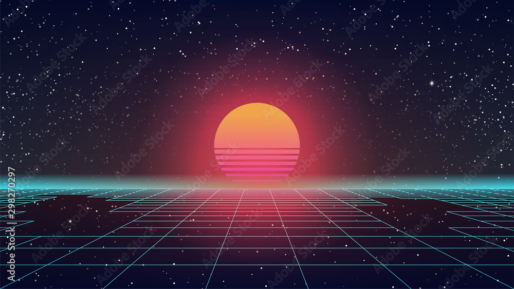 Fototapeta Synthwave Retro Sun. 80s style Sunset. Blue Perspective Grid with gaps. Huge orange glowing. Old game or sci-fi movie style. Futuristic look. 90s party template. Starry sky. Stock vector illustration