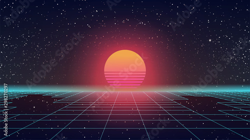 Obraz Synthwave Retro Sun. 80s style Sunset. Blue Perspective Grid with gaps. Huge orange glowing. Old game or sci-fi movie style. Futuristic look. 90s party template. Starry sky. Stock vector illustration - fototapety do salonu