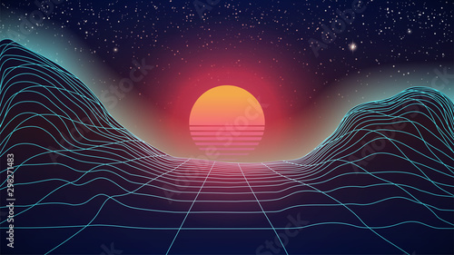 Fototapeta Synthwave Sunset on wireframe landscape. 80s style dark background. Big orange Sun with red glowing on starry sky. Virtual 3d scene. Perspective grid. Retro Futuristic look. Stock vector illustration obraz na płótnie
