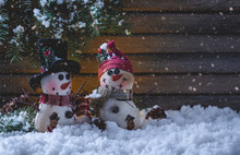 Snowy Night Scene With Two Sno...