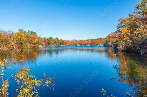 Photo Beautiful fall foliage surrounds a small pond