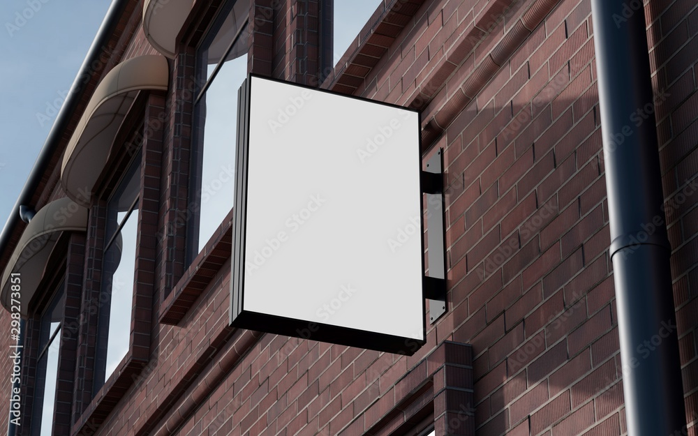 Fototapety, obrazy: Blank, outdoor signage, signboard mockup, sign. 3d rendering