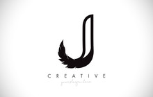 J Feather Letter Logo Icon Des...