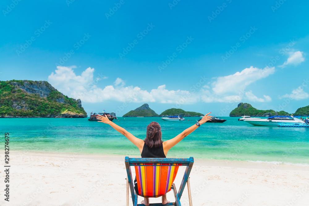 Fototapety, obrazy: Happy woman traveler relaxing on beach chair joy fun beautiful nature scenic Angthong island beach, Leisure lifestyle tourist travel Samui Thailand summer holidays vacation, Tourism destinations Asia